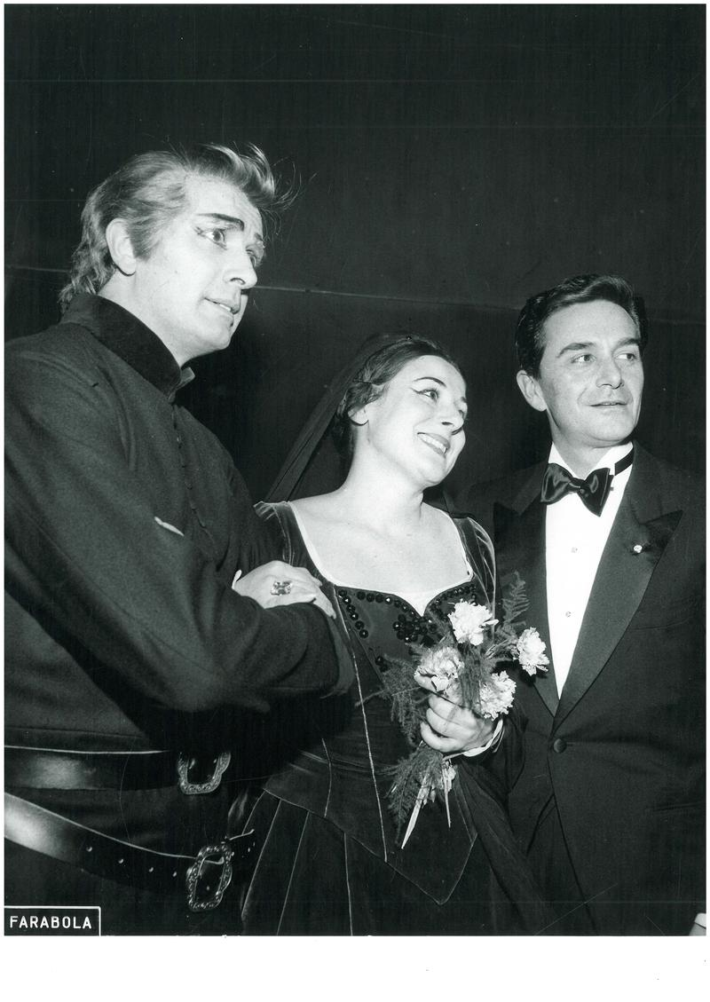 Franco Corelli, Antonietta Stella, and Giorgio De Lullo in the La Scala production of Verdi's 'Il Trovatore,' in the 1961-1962 season