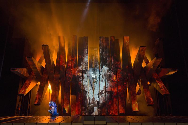 "A scene from Act III of Wagner's ""Die Walküre."""