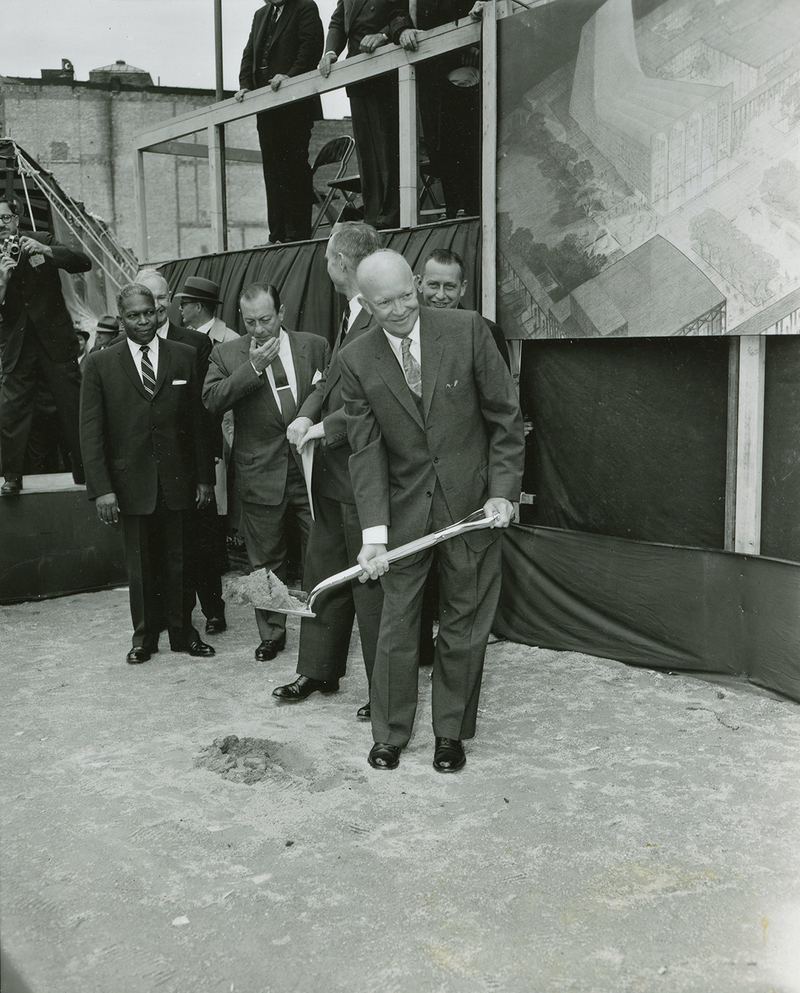 President Dwight D. Eisenhower breaking ground at Lincoln Center, May 14, 1959