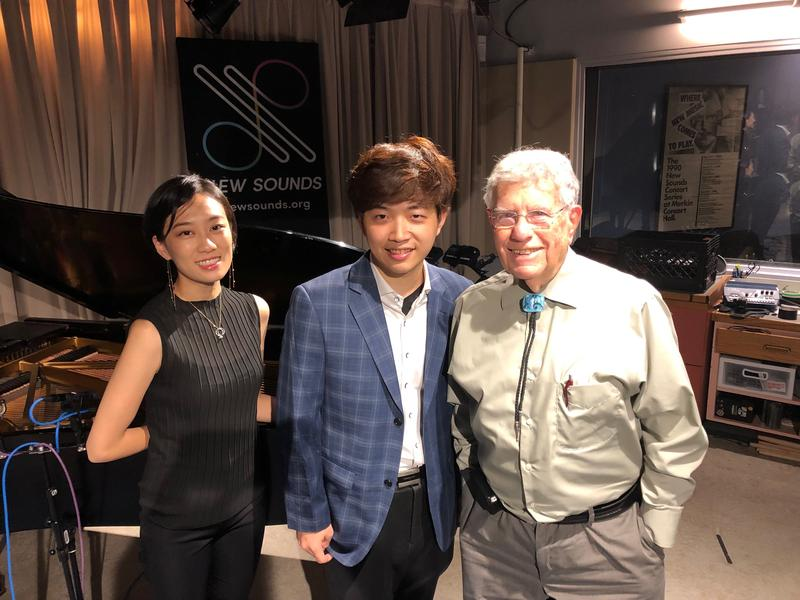 From left to right: Pianist Jinhee Park, Violinist William Wei, and WQXR's Bob Sherman