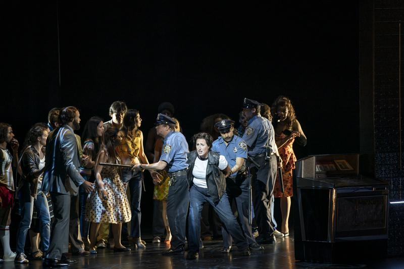 Lisa Chavez (center) and the company of New York City Opera's STONEWALL.