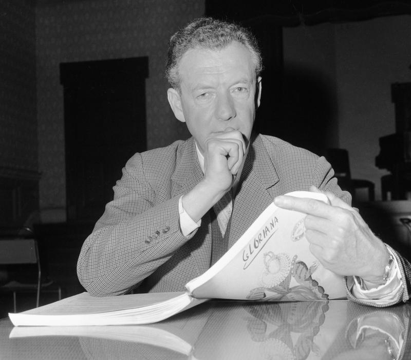 British composer Benjamin Britten studies the score during the rehearsals of his opera, Gloriana, in London, on Nov. 20, 1963.