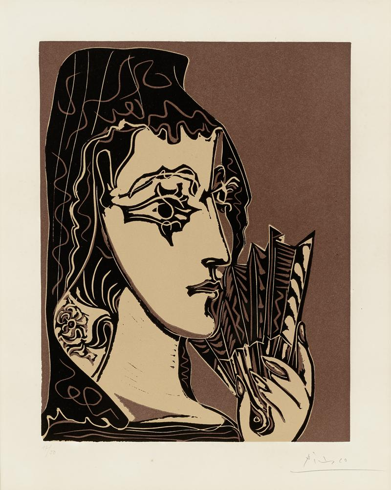 Pablo Picasso Portrait of Jacqueline as Carmen (L'Espagnole) (Bloch 1095) 1962 Linocut 24 1/2 x 17 3/8 inches