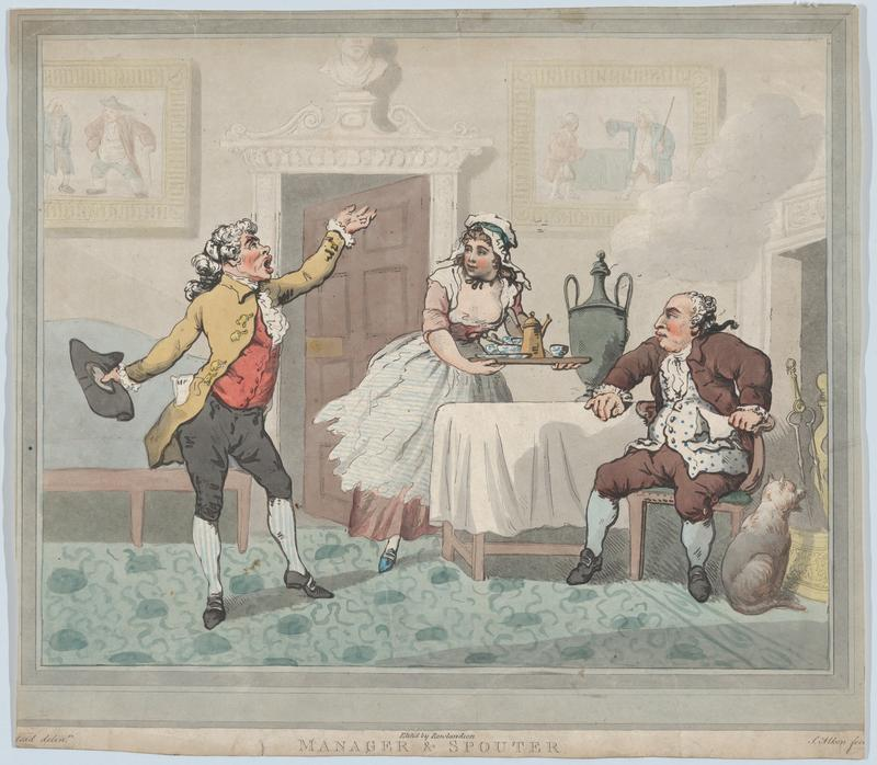 Manager & Spouter, July 1, 1802. Thomas Rowlandson (British, London 1757–1827 London). After Henry Wigstead (British, 1745?–1800 Margate)