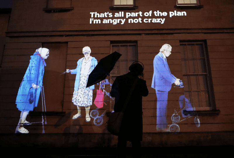 Projected onto the side of the Peter Jay Sharp Building, and broadcast to audience members' headphones, He Did What? is an animated, graffiti-style, 10-minute looping street opera.