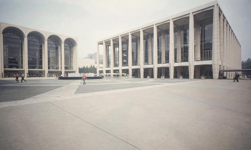 Exterior view of Philhammonic Hall, right, at Lincoln Center in New York City in November 1965, later renamed Avery Fisher Hall in 1973. At left is the Metropolitan Opera House.
