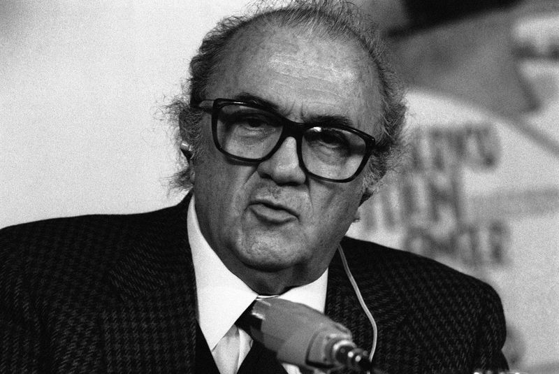 Portrait of Italian director Federico Fellini taken at a press conference at Berlin film festival on Friday, Feb. 14, 1986.