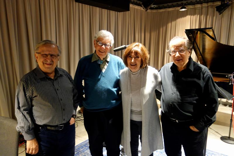 From left to right: pianist Sahan Arzruni, host Bob Sherman, violinist Ani Kavafian, and clarinetist Charles Neidich