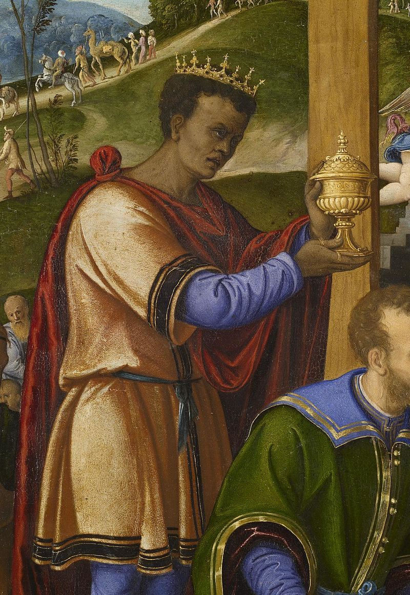 A detail from Girolamo da Santacroce's 'The Adoration of the Three Kings' depicting Balthazar, a Brown King.