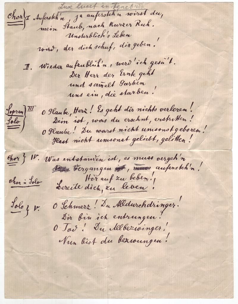 Mahler's handwritten text for his Second Symphony