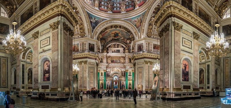A panoramic photo of the interior of Saint Isaac's Cathedral, St. Petersburg.
