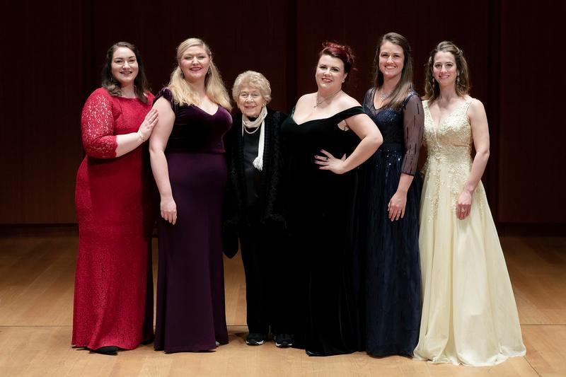 2020 George London Award winners (left to right) Lindsay Kate Brown, Jessica Faselt, Anne Maguire, Katherine Beck, and Jana McIntyre, with GLF President Nora London
