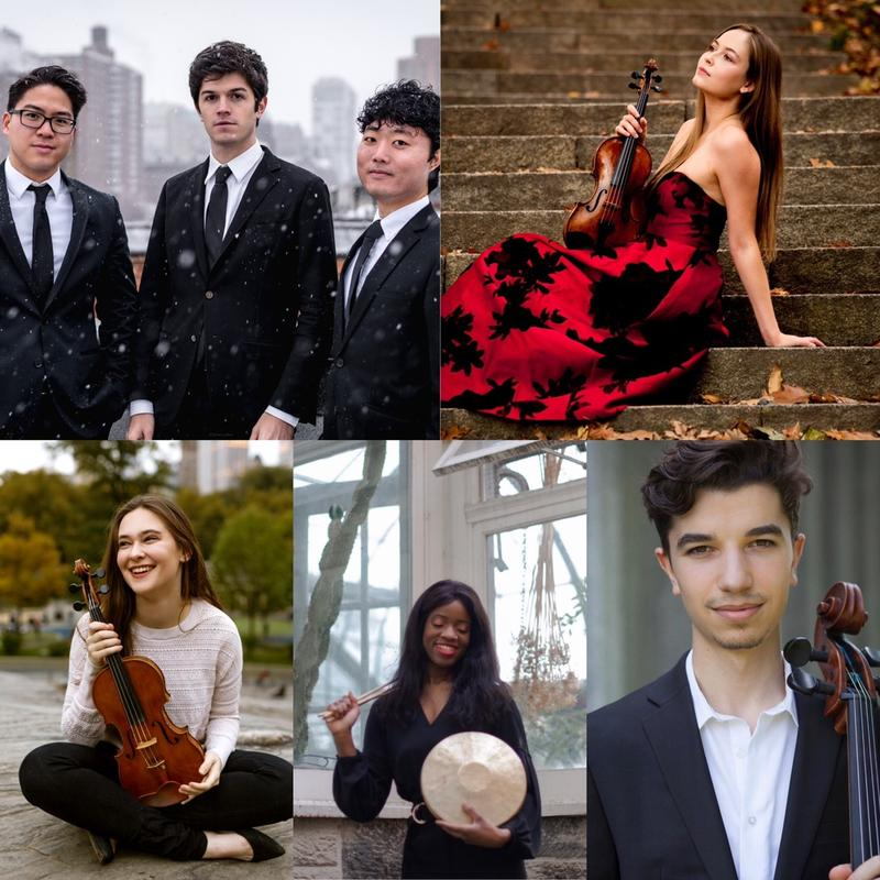 The Winners of the 2020 Concert Artists Guild Competition. Clockwise: Empire Wild, violinist Ariel Horowitz, cellist Gabriel Martins, percussionist Britton-Rene Collins, violist Geneva Lewis