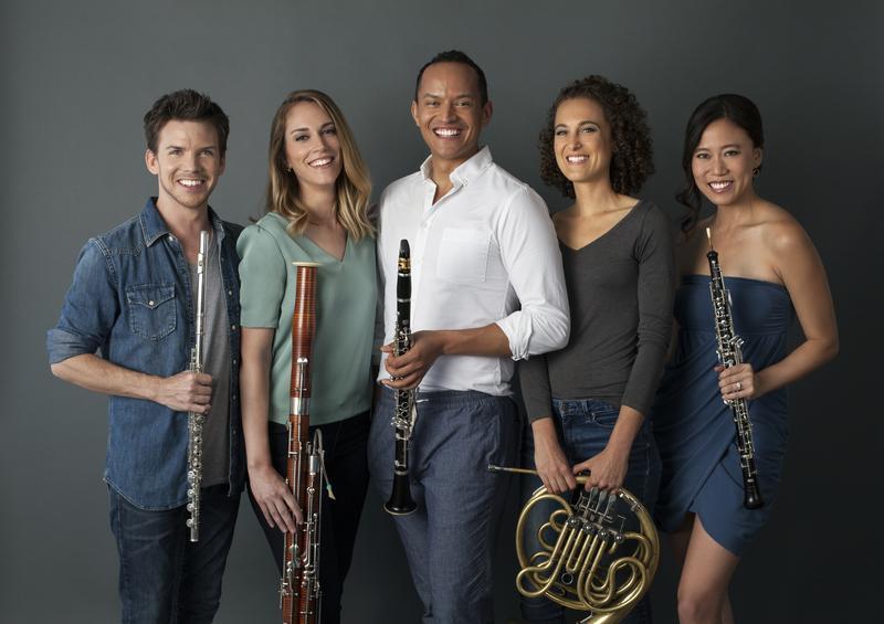 The members of WindSync, from left to right: Garrett Hudson, Kara LaMoure, Julian Hernandez, Anni Hochhalter, and Emily Tsai