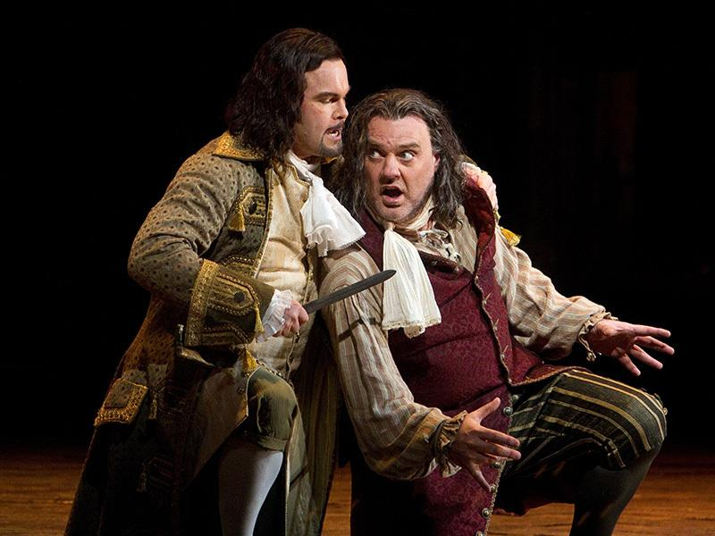 "Gerald Finley as the title character and Bryn Terfel as Leporello in Mozart's ""Don Giovanni."""