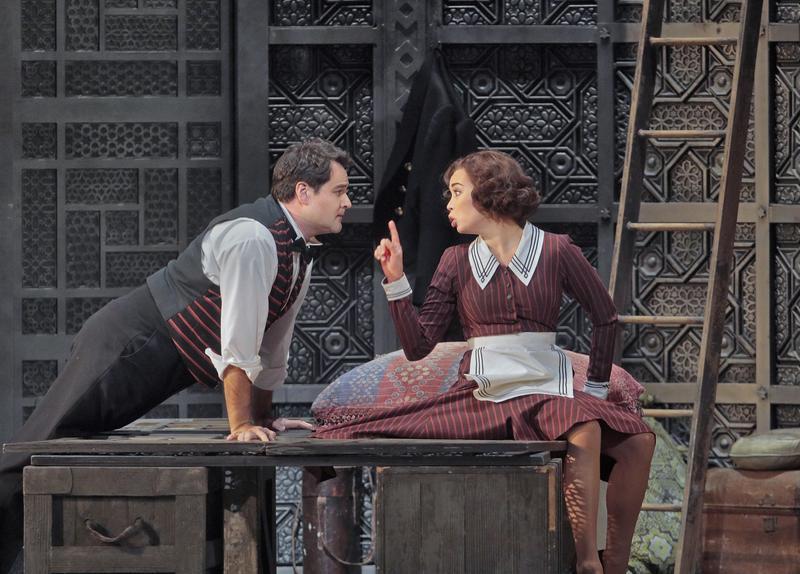 "Ildar Abdrazakov as Figaro and Nadine Sierra as Susanna in Mozart's ""Le Nozze di Figaro."""
