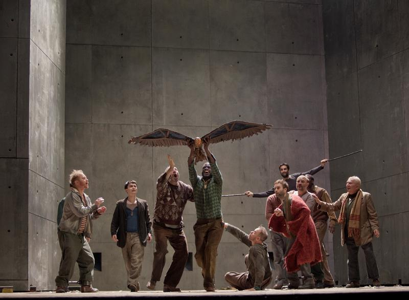 "A scene from Janacek's ""From the House of the Dead"" with actor Michael Lewis, Eric Stoklossa as Alyeya, Peter Straka as The Tall Prisoner, actor Erwin E.A. Thomas (holding eagle), actor Wayne Brusseau"