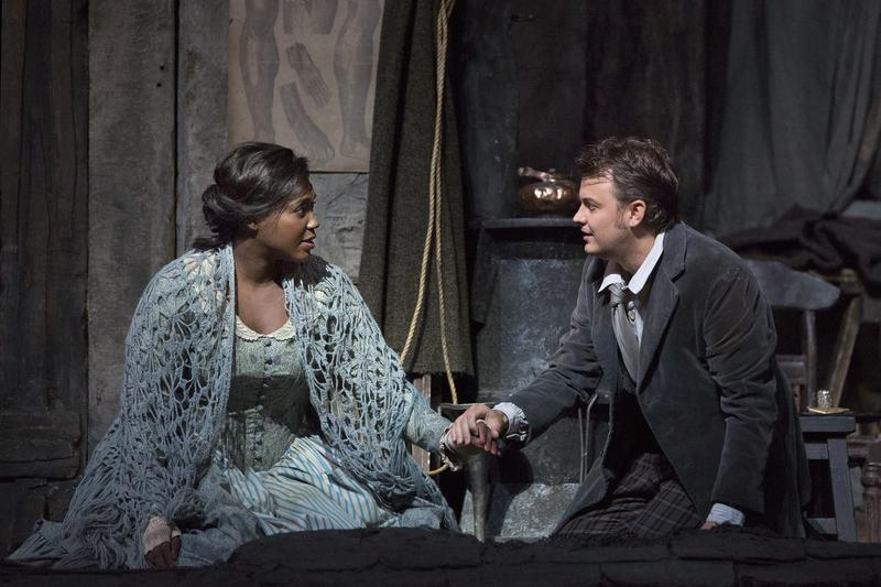 Angel Blue as Mimi and Dmytro Popov as Rodolfo in Puccini's La Bohème