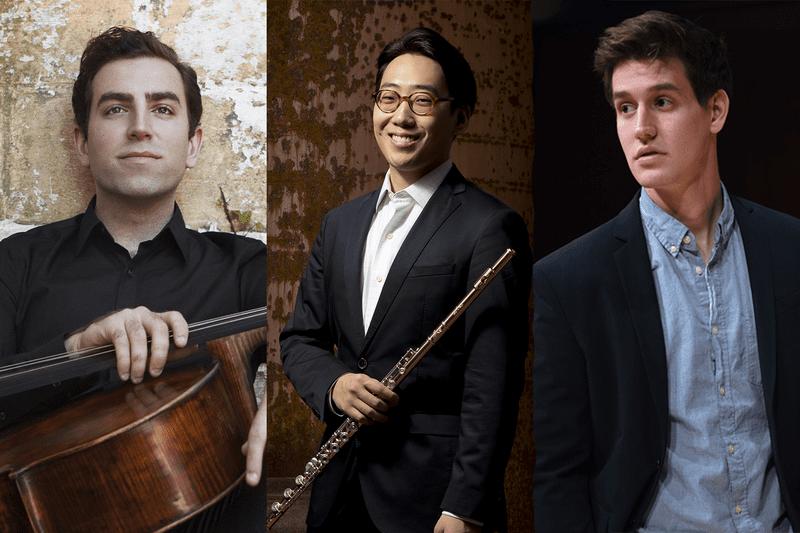L to R: Cellist Thomas Mesa, Flutist Beomjae Kim, and organist Greg Zelek