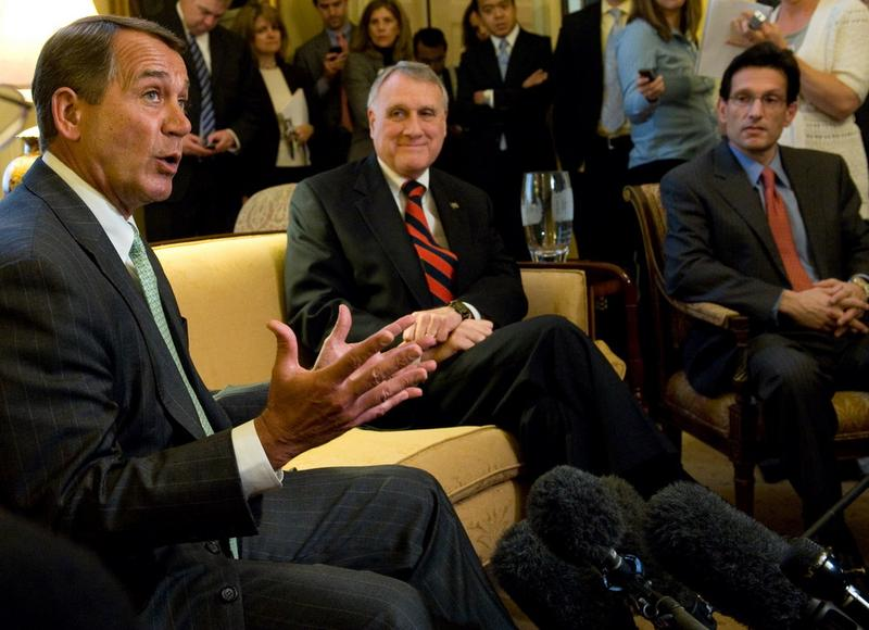 Republican Congressional leadership, including Rep. John Boehner (L), Sen. Jon Kyl (2nd R) and Rep. Eric Cantor (R)  speak about the upcoming healthcare summit with President Obama