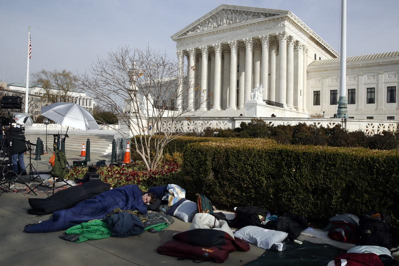People Slept Outside Of The Supreme Court In Order To Save Places Line For Dec
