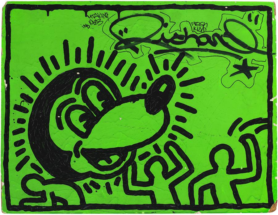 Untitled by Keith Haring, arcyllic and ink on wood.