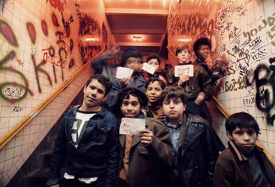 Jon Naar documented New York's graffiti art movement in the 1970s and 80s. In this photograph, child artists pose with their work.