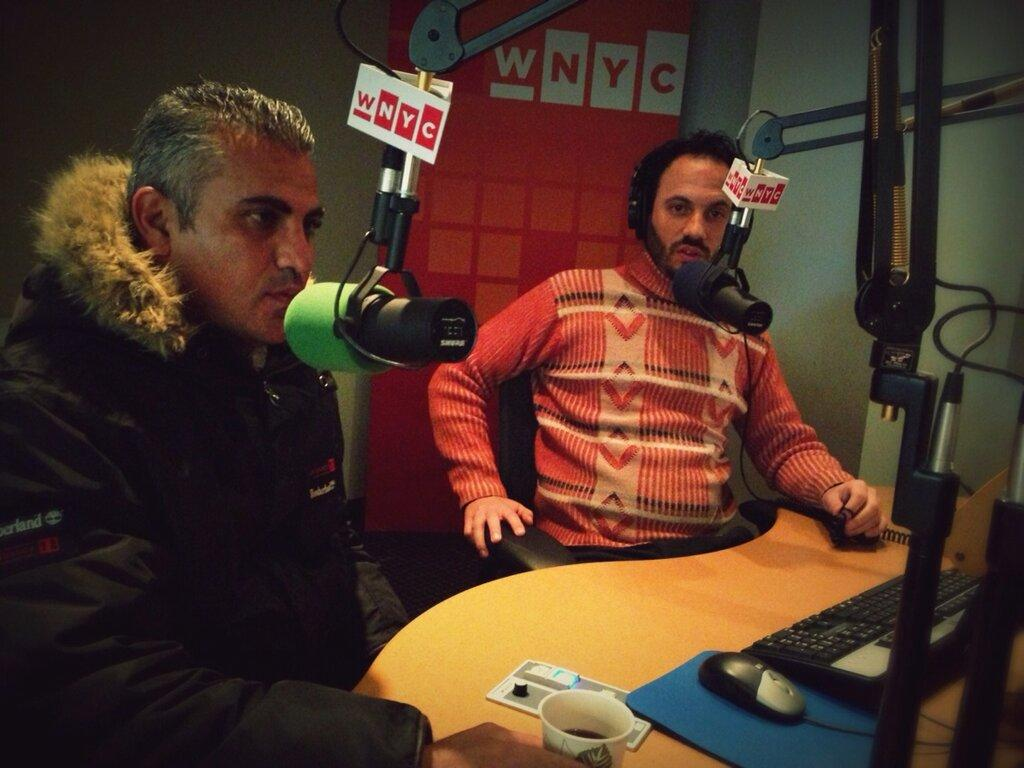 "Emad Burnat and Guy Davidi, co-directors of the new documentary ""5 Broken Cameras"""