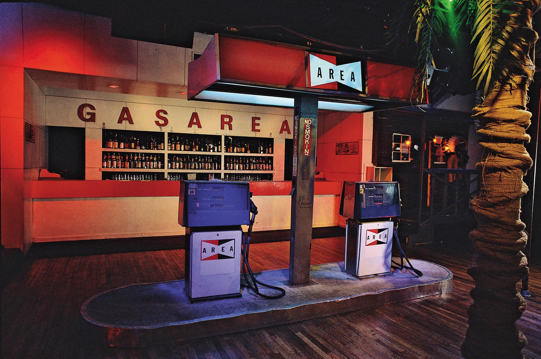 "The dance floor bar was turned into a gas station for the ""American Highway"" theme."