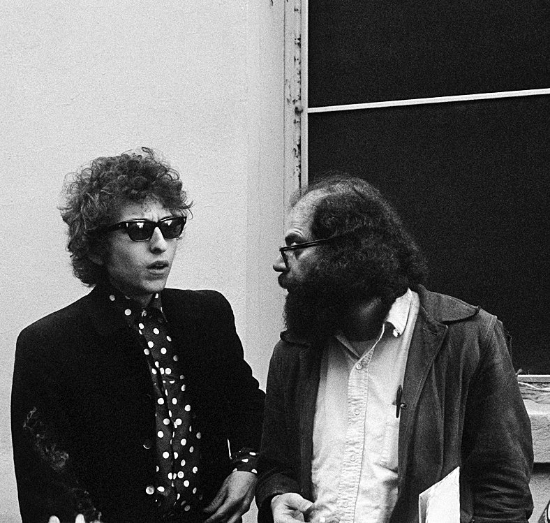 Bob Dylan and Allen Ginsberg at the Chelsea Hotel.