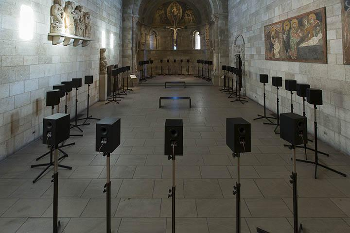 Janet Cardiff's 'The Forty Part Motet (2001)' is now at Fuentidueña Chapel at The Cloisters museum and gardens. (The Metropolitan Museum of Art/Wilson Santiago)