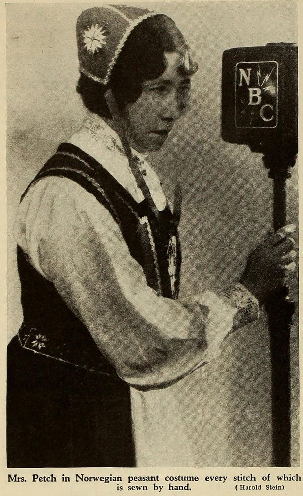 Gladys Petch doing an NBC broadcast in the early 1930s wearing a traditional Norwegian peasant costume.