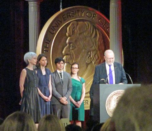 Executive Producer Melissa Eagan, Blakney Shick, Steven Valentino, Julia Corcoran and Leonard Lopate at the podium. (Photo by and courtesy of Daniel Eagan)
