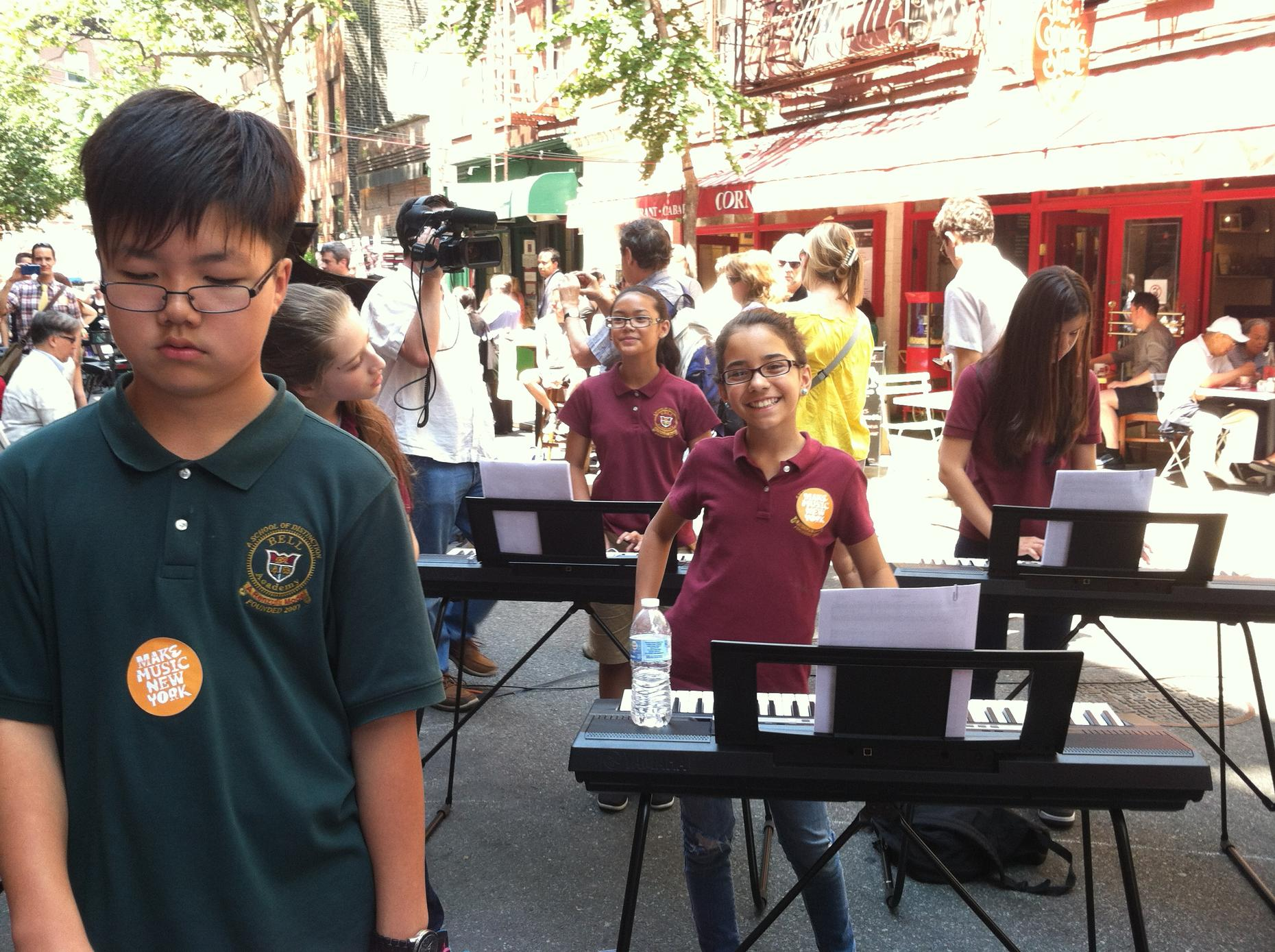 Students from Bell Academy play keyboards for Make Music New York