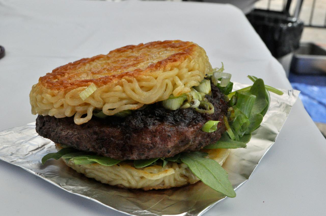 Ramen burger from Ramen Burger at Smorgasburg in Williamsburg.
