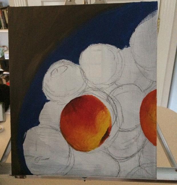 Adrienne Ognibene's unfinished painting 'Basket of Peaches' (Courtesy of Adrienne Ognibene)