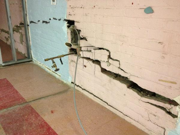 Storm-related damage to the wall of a pre-k classroom at Connors primary school in Hoboken