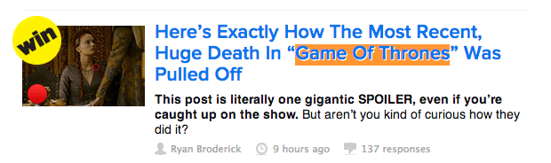 BuzzFeed's Game of Thrones coverage