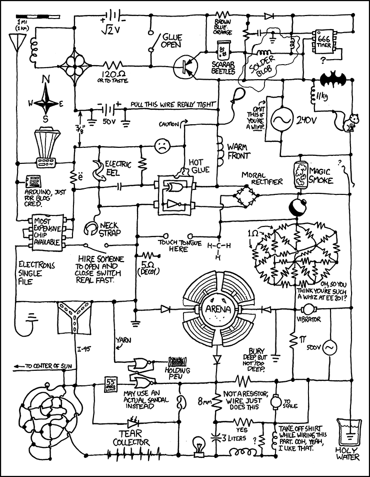 XKCD: 'I just caught myself idly trying to work out what that resistor mass would actually be, and realized I had self-nerd-sniped.'