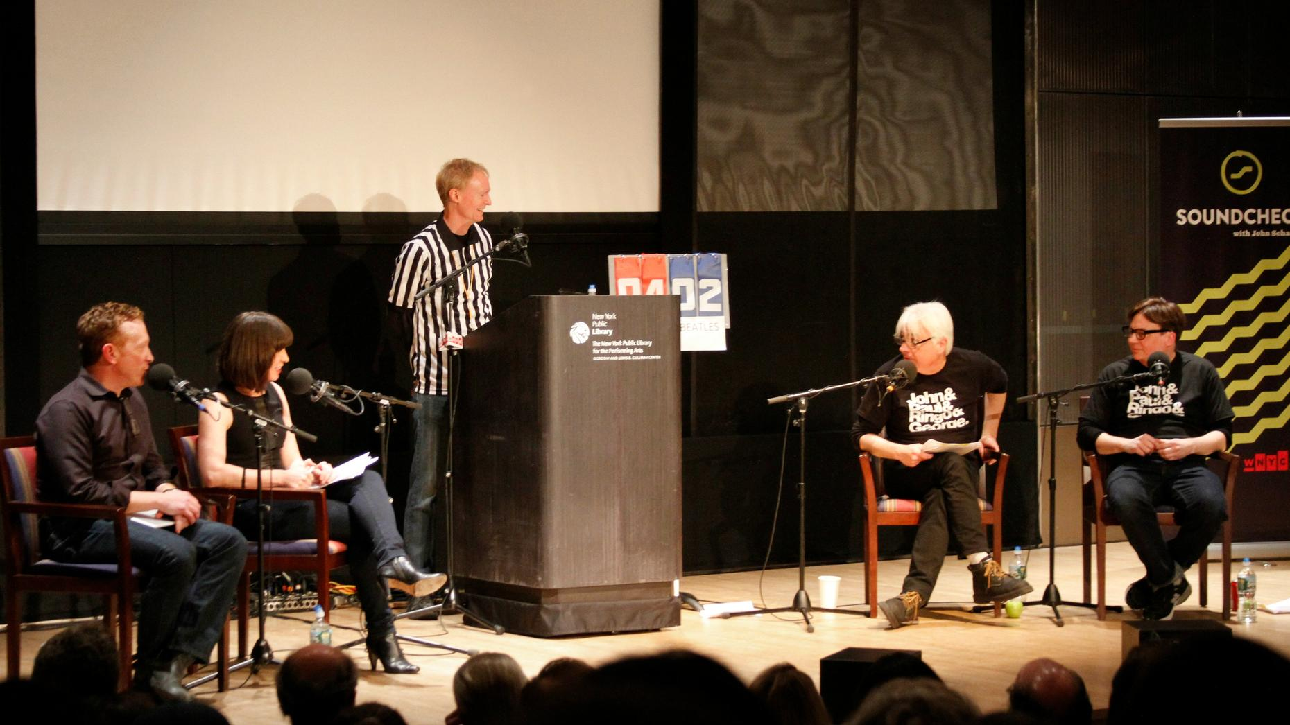 (From left to right) Bill Janovitz, Ophira Eisenberg, John Schaefer, Paul Myers, Mike Myers on stage at the New York Public Library for the Performing Arts