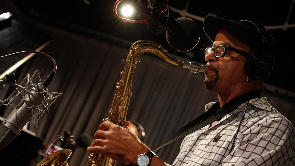 James McBride performs in the Soundcheck studio. (Photo: Michael Katzif/WNYC)