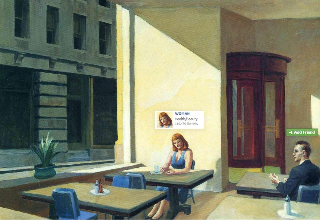 Edward Hopper's Sunlight in a Cafeteria (1958).