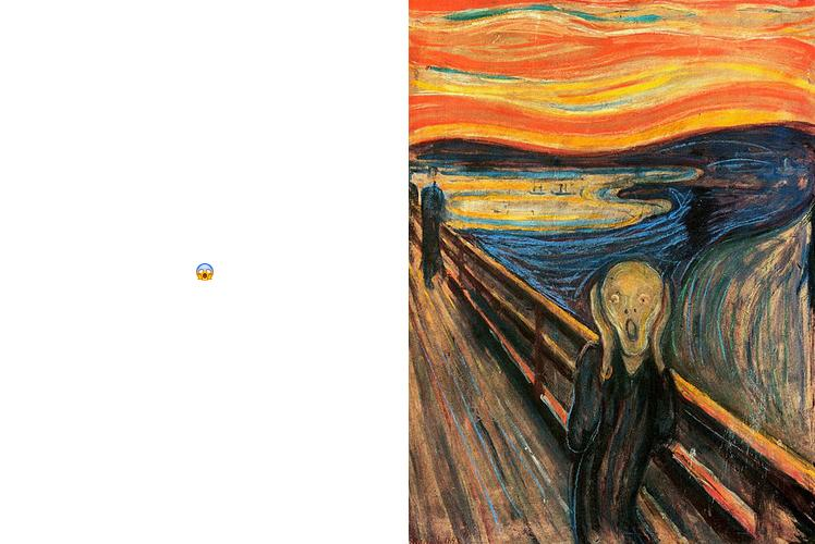 "The ""shocked"" emoji and Edward Munch's The Scream (1893)."