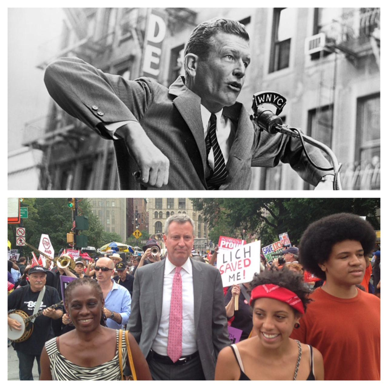 Above: In the mid-1960s, Mayor John V. Lindsay acts out his political vision for a crowd in Manhattan. Below: Mayor Bill de Blasio at a rally with his wife and two children. (WNYC / Courtesy of the Office of Public Advocate)