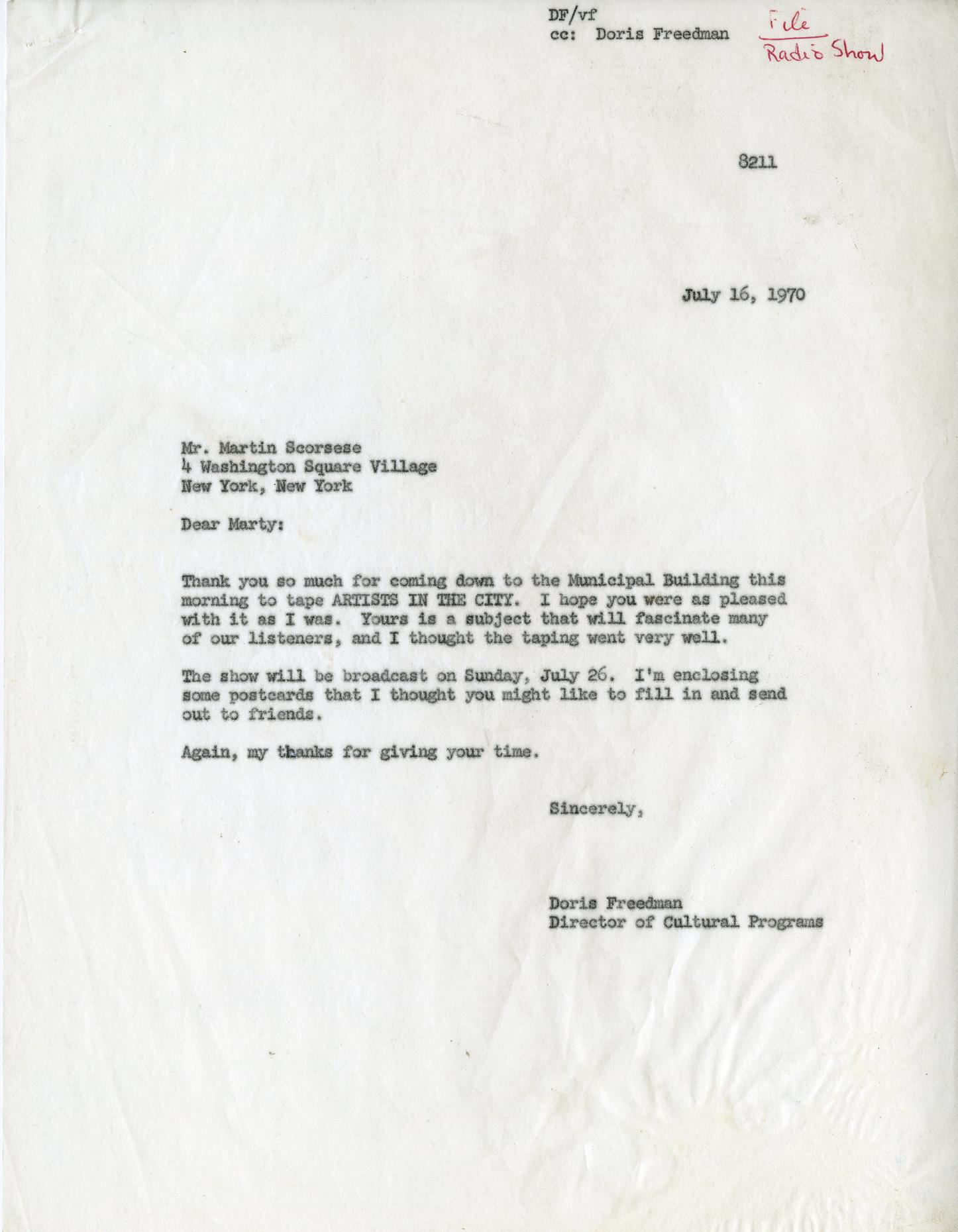 WNYC letter to Martin Scorsese July 16th, 1970