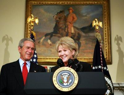 Mary Peters speaks after President George W. Bush nominated her as the next US Transportation Secretary on September 5, 2006.  Bush chose Peters, a former federal highway administrator, to replace Transportation Secretary Norman Mineta. (Photo: MANDEL NGAN/AFP/Getty Images)