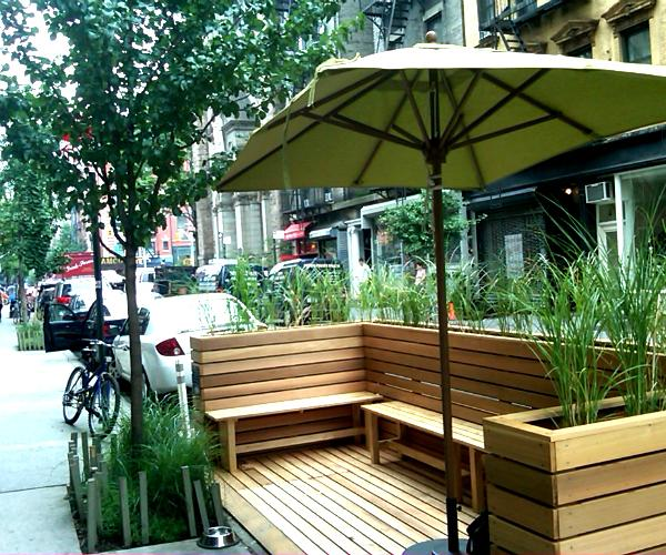 nyc neighbors react to pop up cafes turning parking spots into pit stops wnyc. Black Bedroom Furniture Sets. Home Design Ideas