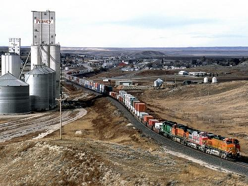 Eastbound Container train rolls through Shelby MT