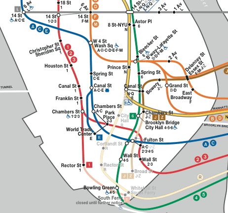 r train to go further south in manhattan but not crossing to