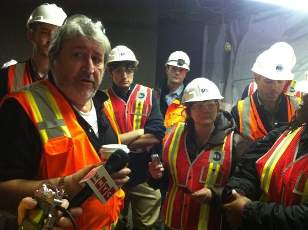 On left, Michael Horodniceanu, president of MTA Capital Construction, takes an elevator to an excavation site 160 below Grand Central Terminal. (photo by Jennifer Hsu)